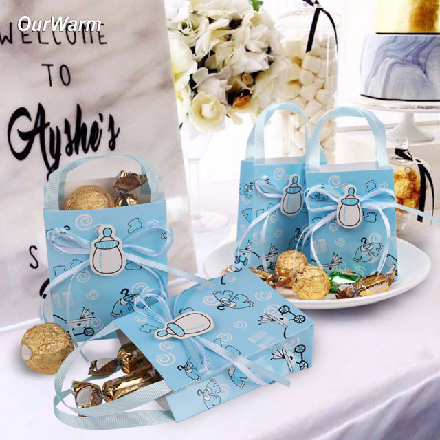 Ourwarm 12pcs Baby Shower Gifts Box Candy Bag Christening Decoration