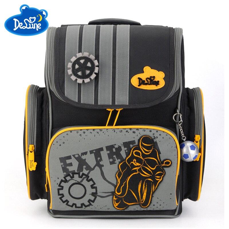 681724edfe3e Delune брендовые 1-5 класс Дети Мальчики ортопедические непромокаемые школьный  рюкзак сумка-сетчел для книг первичный ребенок девочки рюкзак 3D.