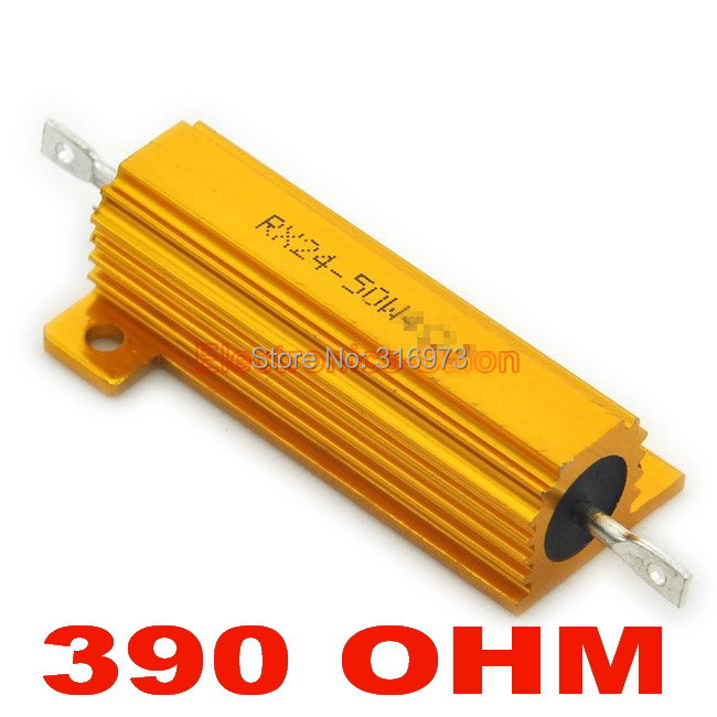 (20 pcs/lot) <font><b>390</b></font> <font><b>OHM</b></font> 50W Wirewound Aluminum Housed <font><b>Resistor</b></font>, 50 Watts. image
