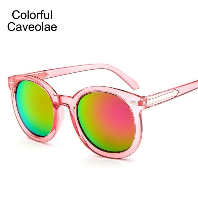 9bd566030 Colorido Caveolae Reflexivo Senhora Óculos de Sol Das Mulheres Óculos de  Sol Da Moda Rodada Óculos
