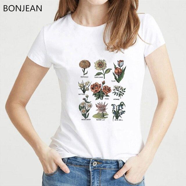 Camiseta mulheres verão 2019 camisa do vintage de Flores Silvestres imprimir camiseta femme Estética roupas top feminino shirt gráficos t