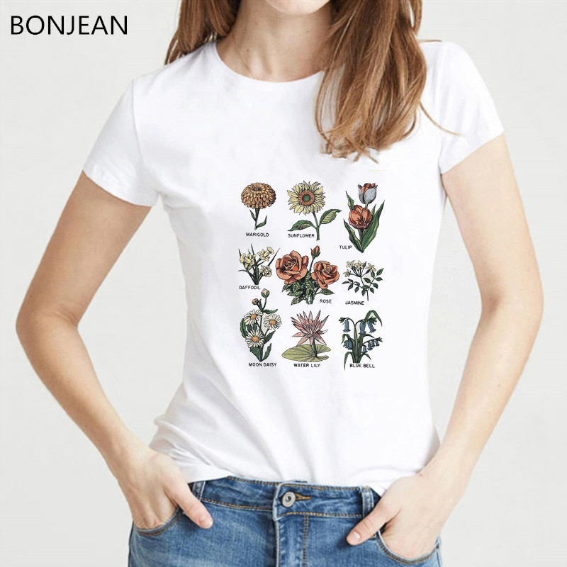 Vintage T Shirt Women 2019 Summer Shirt Wildflower Print Tee Shirt Femme Aesthetic Clothes Top Female Graphic T Shirts