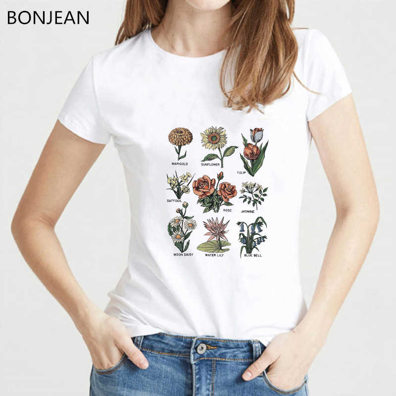 Vintage t shirt women 2019 summer shirt Wildflower print tee shirt femme Aesthetic clothes top female graphic t shirts