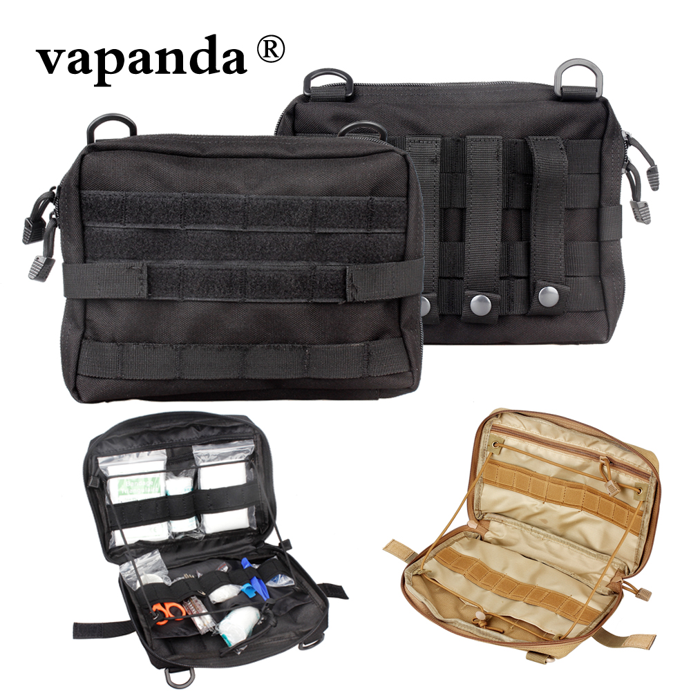Vapanda táctico Molle bolsa de nailon negro táctico bolsa grande revista organizador utilidad teléfono médico bolsa EDC Molle bolsas