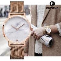 Eutour Geneva Woman Fashion Retro Stainless Steel Quartz Watch Minimalist Hot Marble Watches Clock Wristwatches Popular