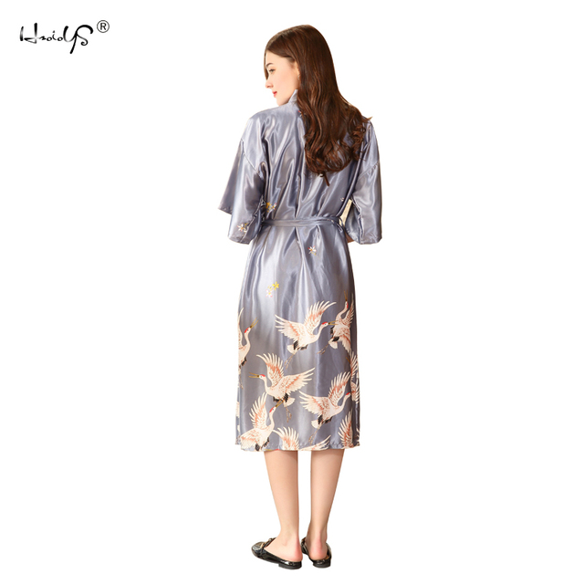 2789613f24 New Luxury Satin Silk Robe Long Crane Print Kimono Robe Women V-neck Half  Sleeve Animal Belted Lingerie Spring Elegant Sleepwear