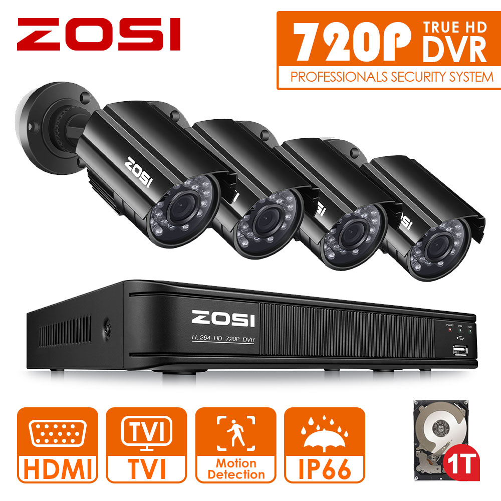 ZOSI 8CH CCTV System 8CH 720P DVR 4PCS 1.0MP IR Weatherproof Outdoor CCTV Camera 1280TVL Home Security System Surveillance Kits zosi 8ch cctv system 1080n hdmi tvi cctv dvr 8pcs 720p ir outdoor security camera 1280 tvl camera surveillance system 1tb hdd