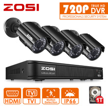 ZOSI 8CH CCTV System 8CH 720P DVR 4PCS 1.0MP IR Weatherproof Outdoor CCTV Camera 1280TVL Home Security System Surveillance Kits