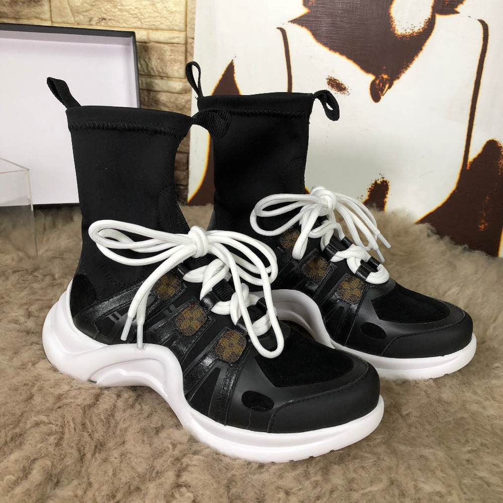 купить Hot Women Mid-calf Boots Leather Short Booties Mixed Color Round Toe Front Lace Up Decor Women Sock Boots Sapato Feminino Brand по цене 6315.61 рублей