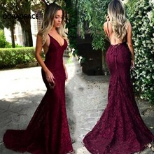 Doragrace Real Photo Sexy Deep V-Neck Sleeveless Spaghetti Straps Backless Prom Dress Mermaid Gowns Lace Evening Dresses