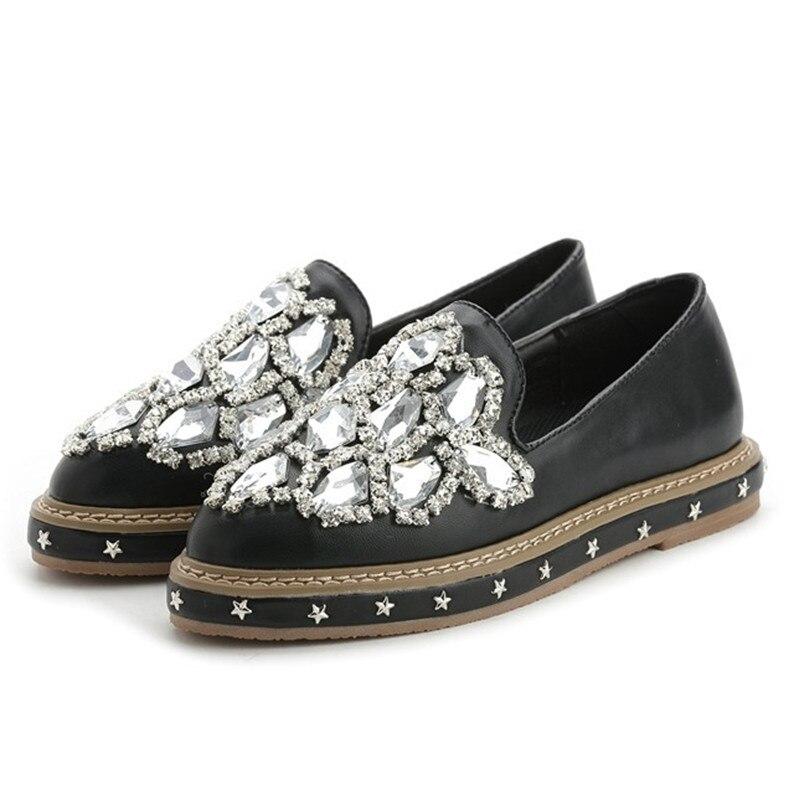 ФОТО Women Brand Design Loafers Shoes Black Gray Female Slip On Flats Rhinestone Flat Shoes Mocassins Zapatillas Mujer XK092311