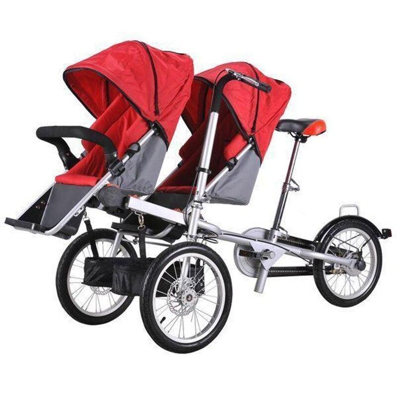 2018 bébé jumeaux et mère vélo pliant chariot 3 roues bébé garçon filles poussette poussette enfants poussettes 3 en 1 landau jumeaux