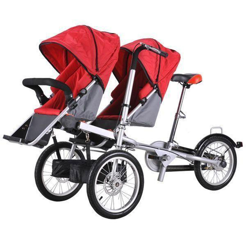 2017 Baby Twins and Mother Bike Folding Trolley 3 wheel Baby Boy Girls Stroller Pushchair Kids  Strollers 3 in 1 Pram Twins avoid the ultraviolet radiation with the canopy pushchair baby build a safe soft environment for babies boys and girls pushchair