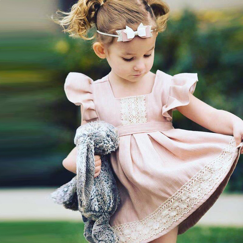 Bear Leader Girls Dresses 2018 New Brand Princess Girl Clothing Stitching Lace Fly Sleeve Light Pink Girls Dress For 2-6 Year thai tide brand cape style fairy layer tassel stitching slim dress hollow out mesh lace stitching fringed champagne dress white