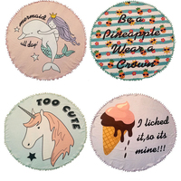 Summer Unicorn Bath Towels Round Beach Towel Microfiber Printed Towel With Tassel Serviette De Plage Fudiya Circle Playa shawl