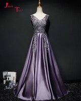 Jark Tozr Custom Made V Neck Backless Lace Appliques Beading Purple Satin Formal Evening Dresses Long