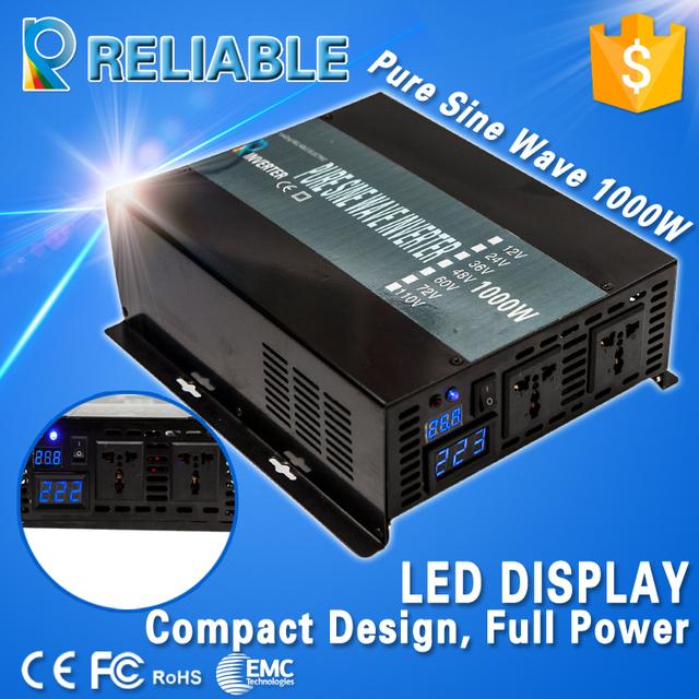 1000W 12V/24V/48V to 120V/220V dc to ac converter solar system off grid Pure Sine Wave Power Inverter for home car inverter