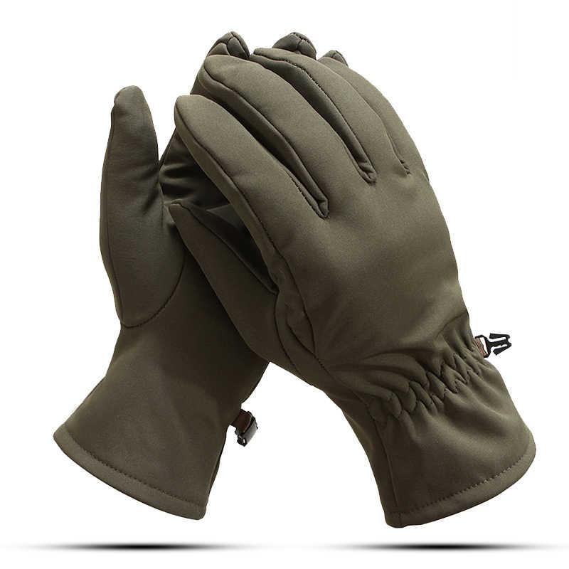 軍事戦術グローブフルフィンガーアウトドアスポーツ暖かいフリース手袋冬男性迷彩防風アンチスキッド手袋