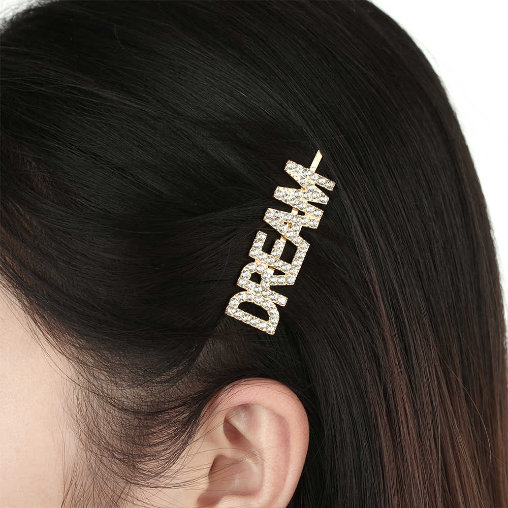 Girls Unique  Elegant Headwear Hairpins Hair Clips Letter Barrettes Crystal