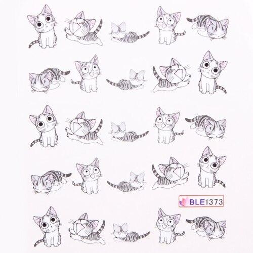 20 конструкции гвоздь обертывания маникюр вода трансферы отличительные знаки милый кошки 100 pcs/lot