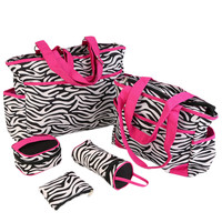 6PCS Zebra Mother Baby Messenger Bag Tote Baby Shoulder Diaper Nappy Bag Durable Waterproof High Capacity