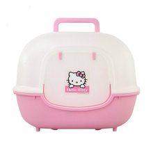 Cute Hello Kitty Totally Closed Cat Litter Pet Cat Toilet Scoop Free Litter Box Kitty Fully Enclosed Training Kit Large Bedpans