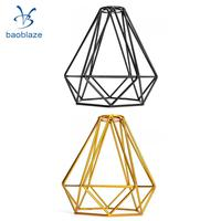 2 Pack Wire Diamond Loft Pendant Ceiling Light Cage Lamp Shade Lightshade Black+Gold