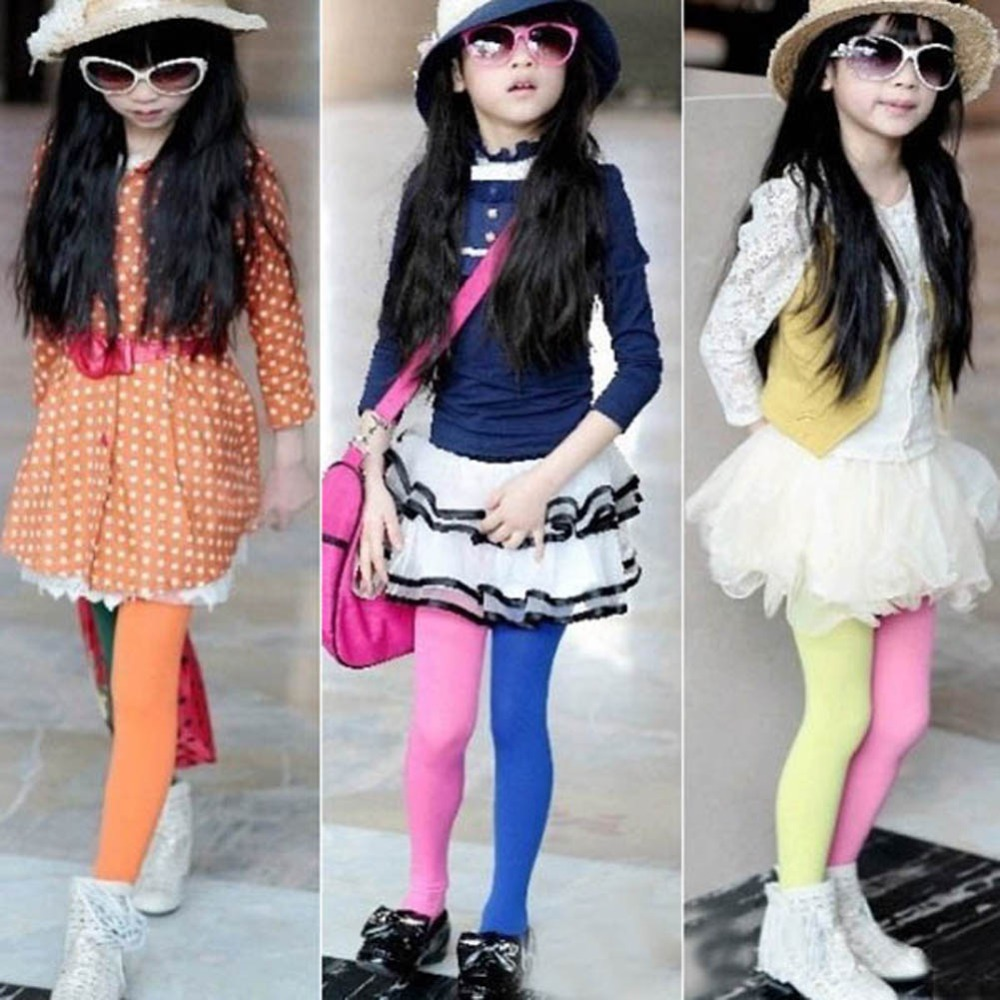 Trendy Candy Color Baby Girls Kids Two-colors Seamless Pantyhose Tights Stockings