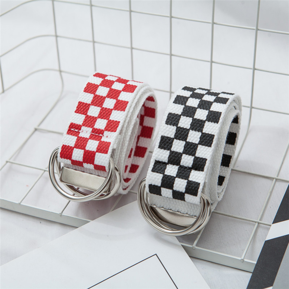 Belt Nylon Waistband Checkered-Belt Female Women New Long Plaid Couple