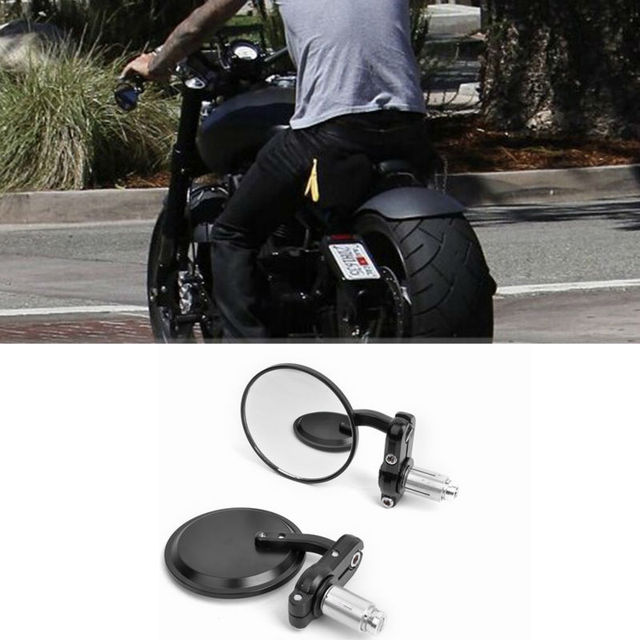 MOTORCYCLE BLACK 3 ROUND 7 8 HANDLE BAR END MIRRORS CAFE RACER BOBBER