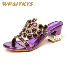 Exquisite Golden Purple Blue Three Colors Rhinestone Sandals Women Shoes Fashion Crystal Leather Casual Wedding