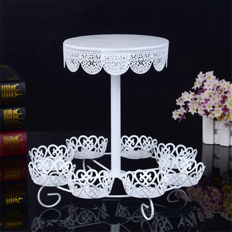 Delfenfen 8Cups Mini Cake 1Cup Big White Cake Stands for Wedding Birthday Party Suppliers Cake Shop