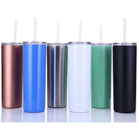 10PCS 20oz Vacuum Tumbler Stainless Steel Skinny Vacuum Insulated Thermos New Cup Beer Coffee Mug Glasses with Lid Straws Mugs