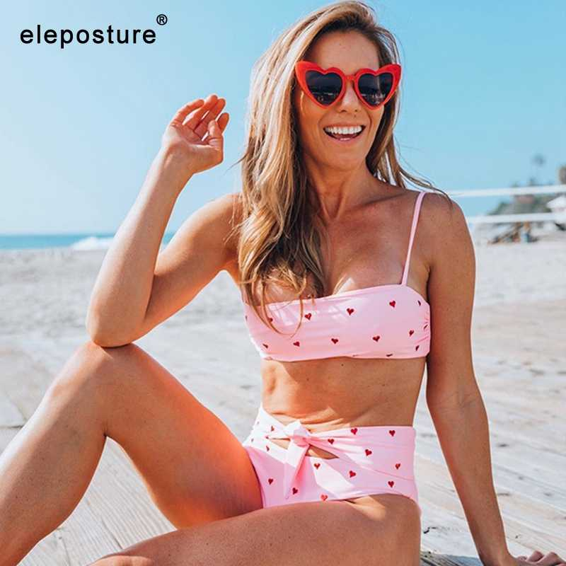 2019 новый сексуальный купальник бикини с высокой талией женский купальник с принтом Бикини бандо комплект бикини бразильский купальный костюм летняя пляжная одежда