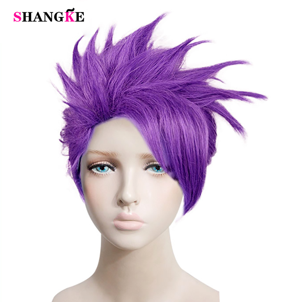 SHANGKE Purple Short Straight Hair Synthetic Wig Halloween