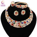 2 colors Trendy Direct Selling Jewelry sets Women necklace for party wedding Boho crystal statement necklace with earrings 2016