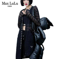 Max LuLu New 2018 Luxury Fashion Sexy Girls Long Blouses Womens Striped Shirts V Neck Blusas Ladies Lace Tops Plus Size Clothing