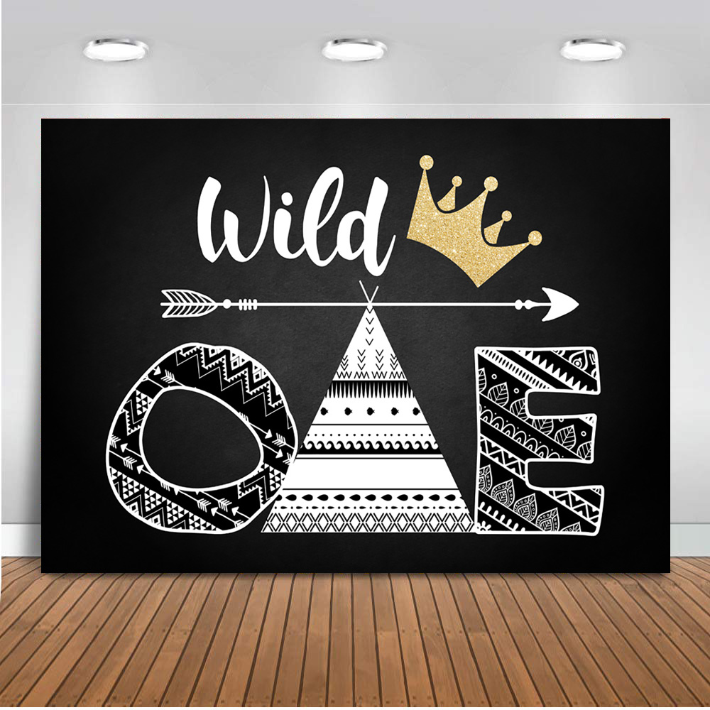 Wild One Background for Photo Studio Newborn Baby Shower Woodland Party Backdrop Decoration Banner Dessert Table Background