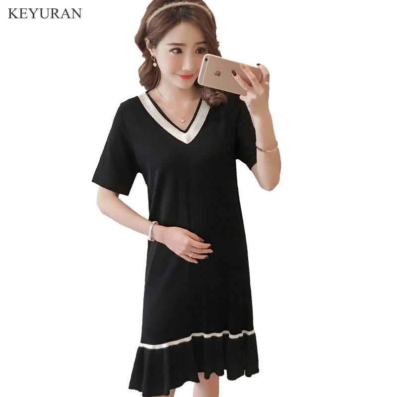 2018 Summer V neck Black Knit Maternity Mermaid Dress Elegant Maternity Clothes for Pregnant Women Pregnancy Clothing Y112