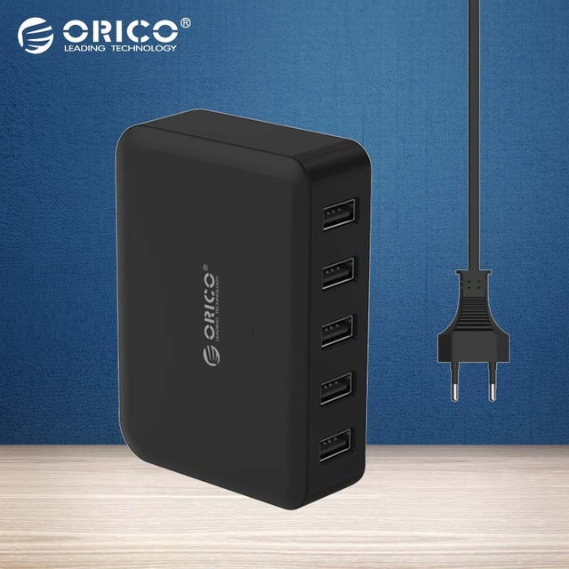 ORICO 5 Portas USB Charger 5V7. 8A39W Inteligente Super Carregador para Carregador De Viagem DA UE/EUA/UK Plug disponíveis-Preto (DCAP-5S)