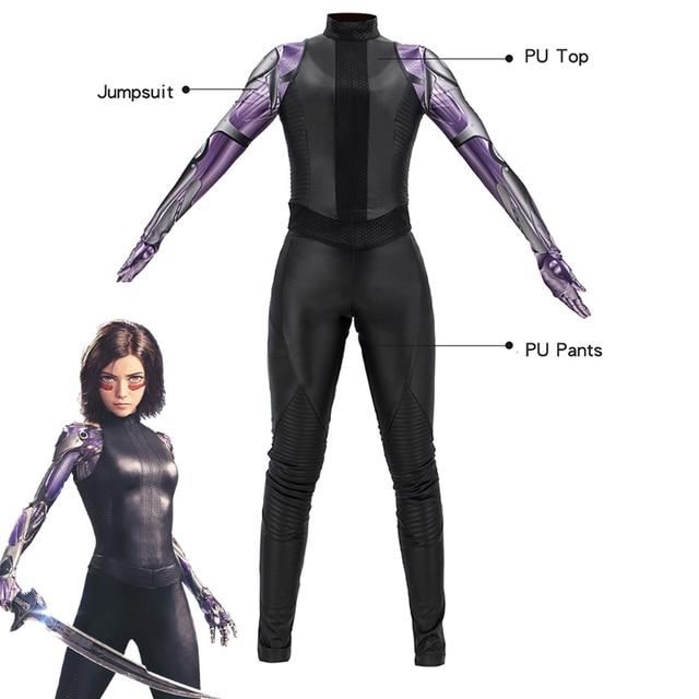 Movie Alita: Battle Angel Alita Cosplay Costume Gunnm Leather Black Outfit and Jumpsuit Halloween Carnivl Uniforms Custom Made