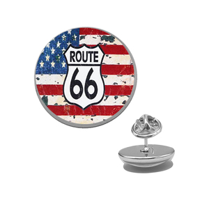 Suteyi, винтажная черная брошка с эмблемой US Route 66, дизайнерские стеклянные кабошоны с изображением американского флага, металлическая брошь р...