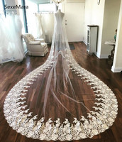 Luxury High Quality Customized Wedding Veil Lace Applique Edge Soft Netting One Tier Cathedral Bridal Veil Wedding Accessory