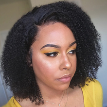 AfroKinkyCurlyWigs 250 density lace wigBrazilianShortBobLaceFrontHumanHair Wigs ForBlackWomenFreeshipping