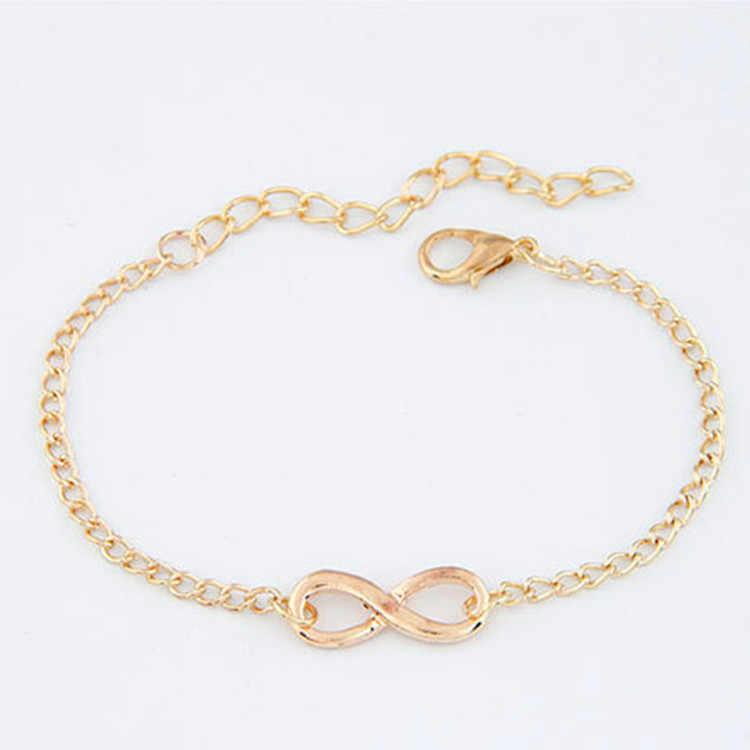 2018 צמידי מזל שמונה צורת צמיד שרשרת אופנה פשוט כסף זהב Bileklik Pulseras צמידי צמידים לנשים