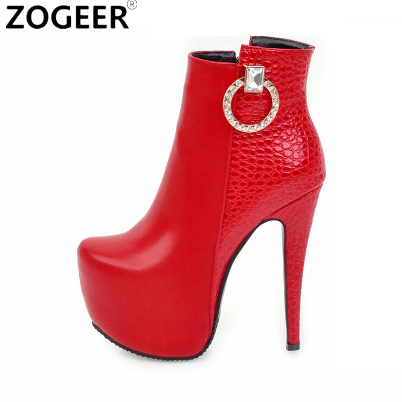 Plus size 48 2019 Luxury Women Ankle Boots PU Leather Fashion High Heels Boot Sexy Round
