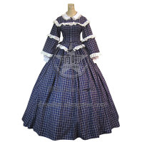 Civil War Victorian Gingham Ball Gown Day Dress With Grace Lace Decorated And Classical Collar Charming For Party Fast Fashion