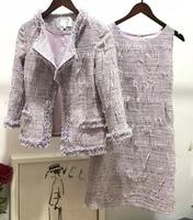 2018 conjuntos mujer dos piezas light luxury tweed jacket and dress two piece set plus size autumn jacket 5XL 6XL elegant coat