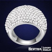 Banda de lujo incrustaciones anillo con Swarovski Elements cristal austriaco Rhinestone boda de moda para Mujer para hombre Anillos Mujer