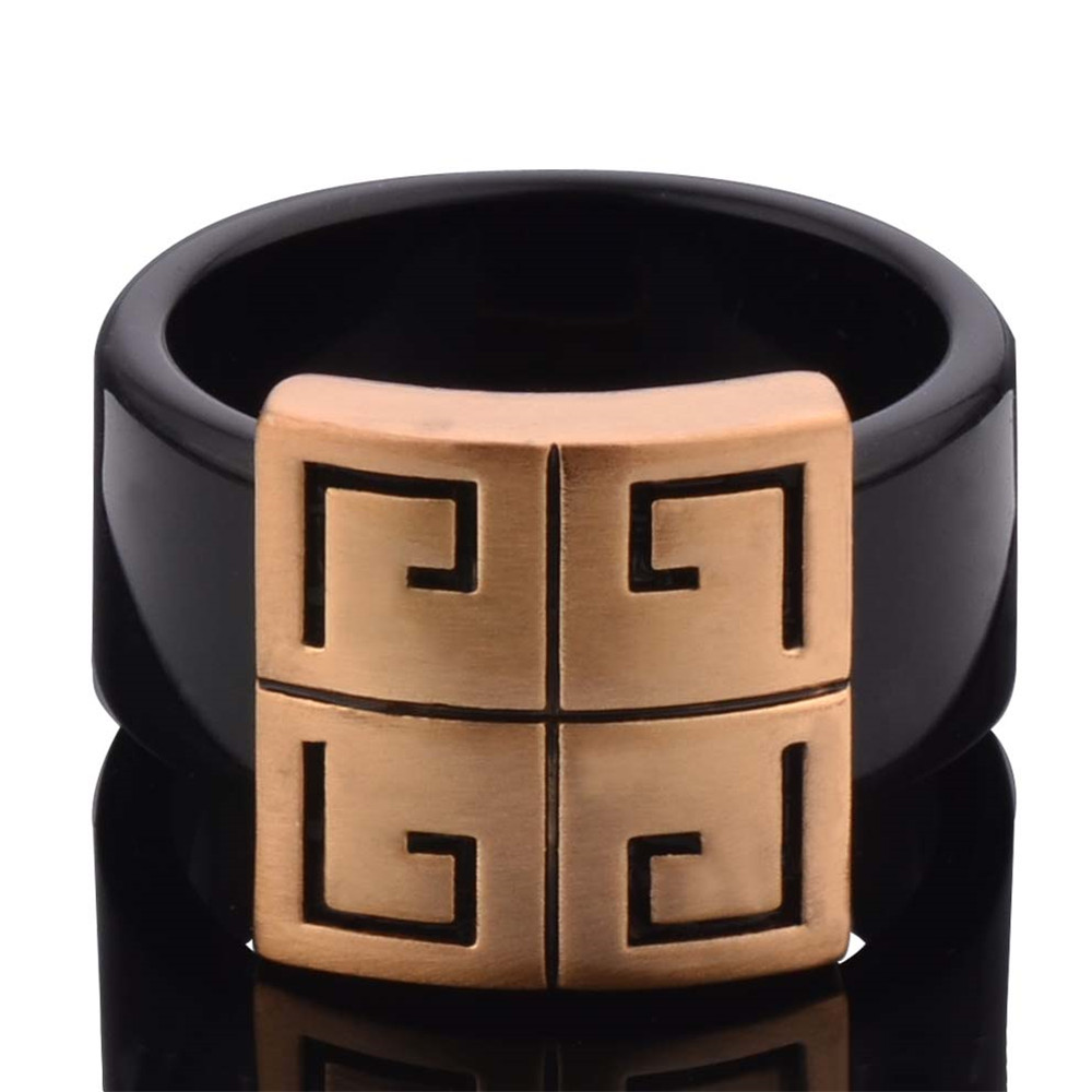 Exquisite Fashion Classic Black Cross Rings Gold colorRing for Women Gift Thin Black Line Ring Jewelry Berloque Jewelry Rings